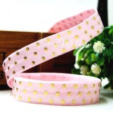 Резиночка, ширина 16 мм, розовая с золотыми точками, цена за 1ярд, LE000466