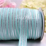 Резиночка, ширина 16 мм, мятная с полосками, полоски цвет серебро, цена за 1ярд, LE000471