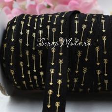 Резиночка чёрная с золотыми стрелочками, ширина 16 мм, цена за 1ярд, LE000480