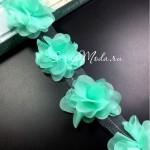 Шифоновые цветочки, цвет Мятный, размер 6 см., цена указана за 1 шт., DA000155