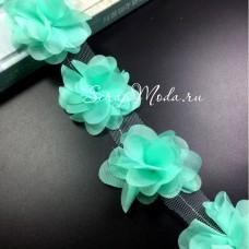 Шифоновые цветочки, цвет мятный, размер 6 см., цена указана за 1 шт., LE000487