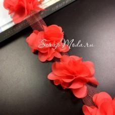 Шифоновые цветочки, цвет красный, размер 6 см., цена указана за 1 шт., LE000488