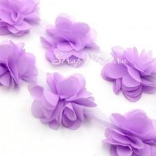 Шифоновые цветочки, цвет лаванда, размер 6 см., цена указана за 1 шт., LE000490