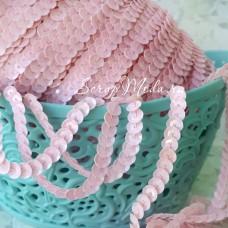 Тесьма пайетки розовая, матовая, 6 мм, цена за 1 метр, LE000501