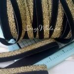 Резиночка, ширина 16 мм, черная с золотом, цена за 1 метр, LE000510