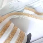 Резиночка, ширина 16 мм, белая с золотом, цена за 1 метр, LE000511