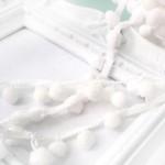 Тесьма с помпонами белая, размер помпона 12 мм., цена за 1 метр, LE000520