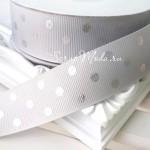 Лента репсовая серая, горох серебро, 25 мм., LE000527