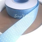 Лента репсовая голубая в горошек, ширина 25мм, цена за 1 метр, LE000538