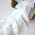Шифоновые лепестки на ленте, цвет Белый, длина лепестка 6 см, цена указана за 30 см., LE000543