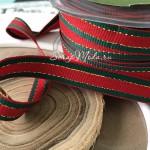 Лента репсовая с люрексом Лампас, 12 мм., цена за 1 метр, LE000579