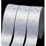 Лента атласная белая, в серебро горох, 25 мм., LE000589