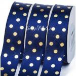 Лента атласная синяя, в золотой горох, 25 мм., LE000590