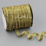 Лента бархатная с люрексом, цвет: золото, 10 мм., цена за 1 метр, LE000591