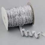 Лента бархатная с люрексом, цвет: серебро, 10 мм., цена за 1 метр, LE000592