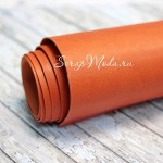 Переплётный кожзам матовый (экокожа), текстура:матовый, Оранжевый, цена за отрез: 25х70 см, тонкий, толщина 1 мм. LI000011