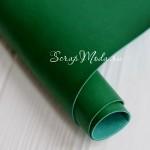 Переплётный кожзам матовый (экокожа), текстура:матовый, Зелёный, цена за отрез: 33х70 см, тонкий, толщина 1 мм., LI000017