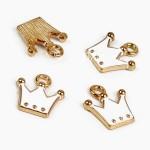 Подвеска Корона Белая, основа золото, металл, размер 10х11 мм., цена за 1 шт., LI000028