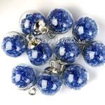 """Подвеска Шар """"Камешки"""", цвет: синий, колпачёк серебро, 22 мм, цена за 1 шт., LI000035"""