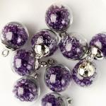 "Подвеска Шар ""Камешки"", цвет:фиолетовый, колпачёк серебро, 22 мм, цена за 1 шт., LI000036"