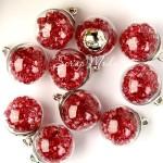 """Подвеска Шар """"Камешки"""", цвет: красный, колпачёк серебро, 22 мм, цена за 1 шт., LI000037"""
