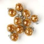 "Подвеска Шар ""Камешки"", цвет: Золотой янтарь, колпачёк серебро, 22 мм, цена за 1 шт., LI000039"