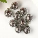 "Подвеска Шар ""Камешки"", цвет: серый, колпачёк серебро, 22 мм, цена за 1 шт., LI000040"