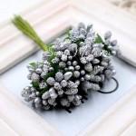 Ягоды с Тычинками и с листиками, цвет: Серебро, цена за 1 веточку, LI000048