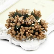 Ягоды с Тычинками и с листиками, цвет: Золото, цена за 1 веточку, LI000049