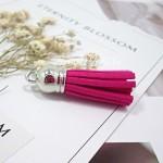 Подвеска Кисточка замшевая, цвет:ярко-розовая, основа серебро, размер 38х11мм., цена за 1 шт., LI000057