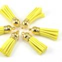 Подвеска Кисточка замшевая, цвет:Лимонная, основа золото, размер 38х11мм., цена за 1 шт., LI000092