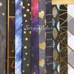 Набор бумаги односторонней с фольгированием Звёздное небо, 10 листов, размер 30,5 х 30,5 см, 250 г/м, АртУзор, LI000160