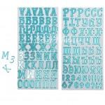 Чипборд‒алфавит на клеевой основе с голубым фольгированием, Моя прекрасная мама, 14 × 27.5 см, 2 листа, АртУзор, LI000167