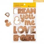 Чипборд на клеевой основе с фольгированием Love, золото, 12×21 см,  АртУзор, LI000171