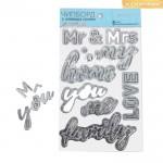 Чипборд на клеевой основе с фольгированием Mr and Mrs, серебро, 12×21 см, АртУзор, LI000172