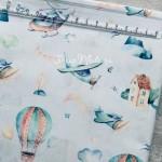 Хлопок Воздушные шары на голубом фоне, размер 33х50 см., Unicornfabrics, LI000195