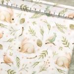 Хлопок Кролики в травке, на белом фоне, размер 33х50 см, Unicornfabrics. LI000216