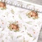 Хлопок Оленята в травке, на белом фоне, размер 33х50 см, Unicornfabrics, LI000217