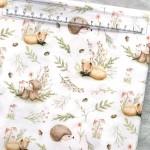 Хлопок Лисички и Ежики в травке, на белом фоне, размер 33х50 см, Unicornfabrics, LI000218