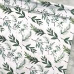 Хлопок Зелёные листья, на белом фоне, размер 33х50 см, Unicornfabrics, LI000230