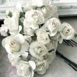 Розочка на проволоке, цвет Белый, размер:20 мм., 5 шт., LI000239