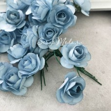 Розочка на проволоке, цвет Голубой, размер:20 мм., 5 шт., LI000241