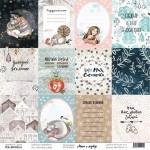 """Лист 12 карточек, Карточки о зиме, Коллекция """"Маша и медведь"""", односторонняя бумага для скрапбукинга, размер 30,5 на 30,5 см., плотность 190 г/м2, TEA-MOOD, LI000247"""