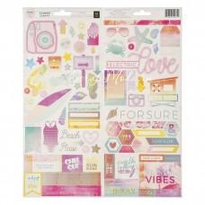 Стикеры из кардстока - Коллекция SUMMER LIGHTS, размер 14х31 см, в наборе 2 листа, (92 шт). Pink Paislee. LI000263