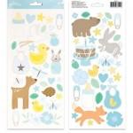 Стикеры из кардстока - Baby Boy Icons & Accents, Коллекция Lullaby, размер 14х31 см, в наборе 2 листа, (65 шт). Pebbles. LI000264