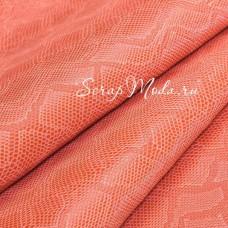 Кожзаменитель с тиснением под кожу змеи, цвет: Персиковый, отрез размером 25х70см., на тканной основе, толщина 0,7 мм., LI000363