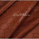 Кожзаменитель с тиснением под кожу змеи, цвет: Коричнево-Оранжевый, отрез размером 32х45см., на тканной основе, толщина 0,7 мм., LI000377
