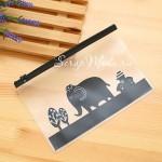 Папка прозрачная с пластиковым зажимом,  с чёрным рисунком Слон, MR000032