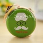 Футляр круглый на молнии для наушников, Усы зелёные, размер 7 см., MR000131