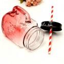 Стеклянная кружка-банка с ручкой, красного цвета, обьем: 480 мл, MR000206